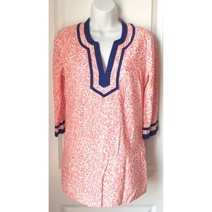 J.Crew Pink Floral 3/4 Sleeve Popover Tunic Top
